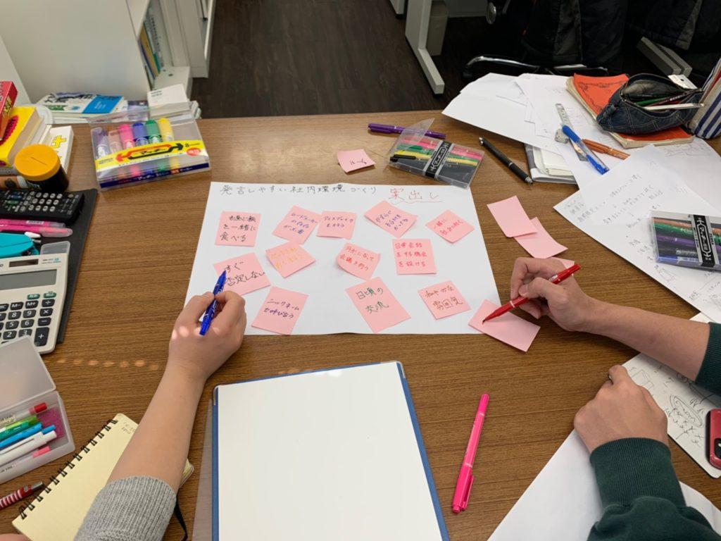 大学のサークルやボランテイアで使う付箋(ポストイット)の無駄使いやファシリテーションで使う模造紙ももったいないということで議論は深まります。