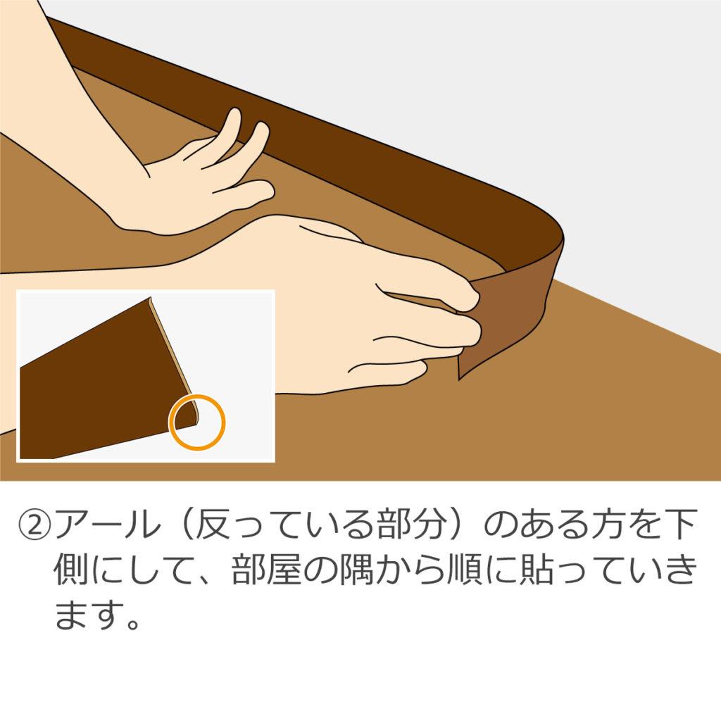 アール(反っている部分)のある方を下側にして、部屋の隅から順に貼っていきます