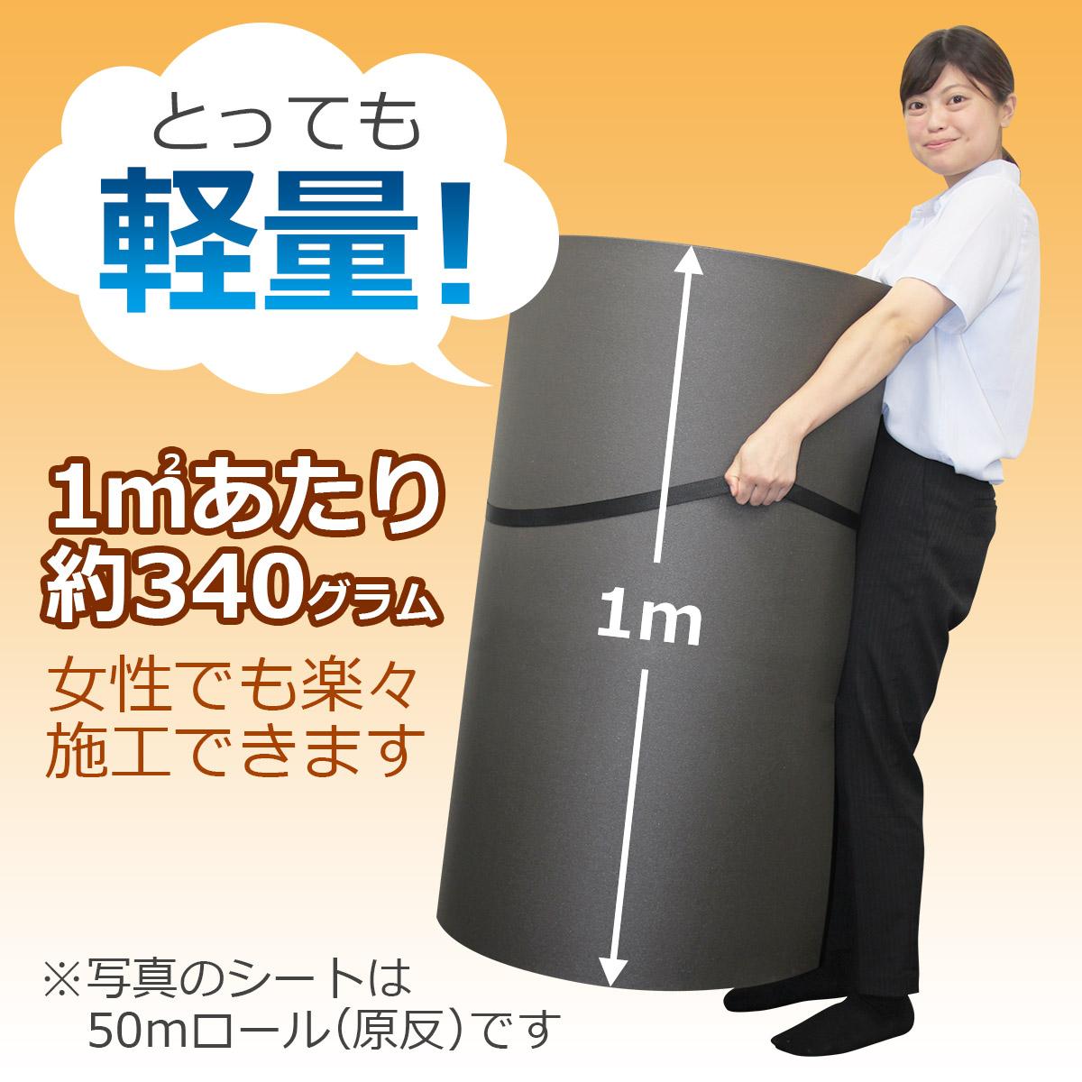 とっても軽量!1㎡あたり約340グラム 女性でも楽々施工できます