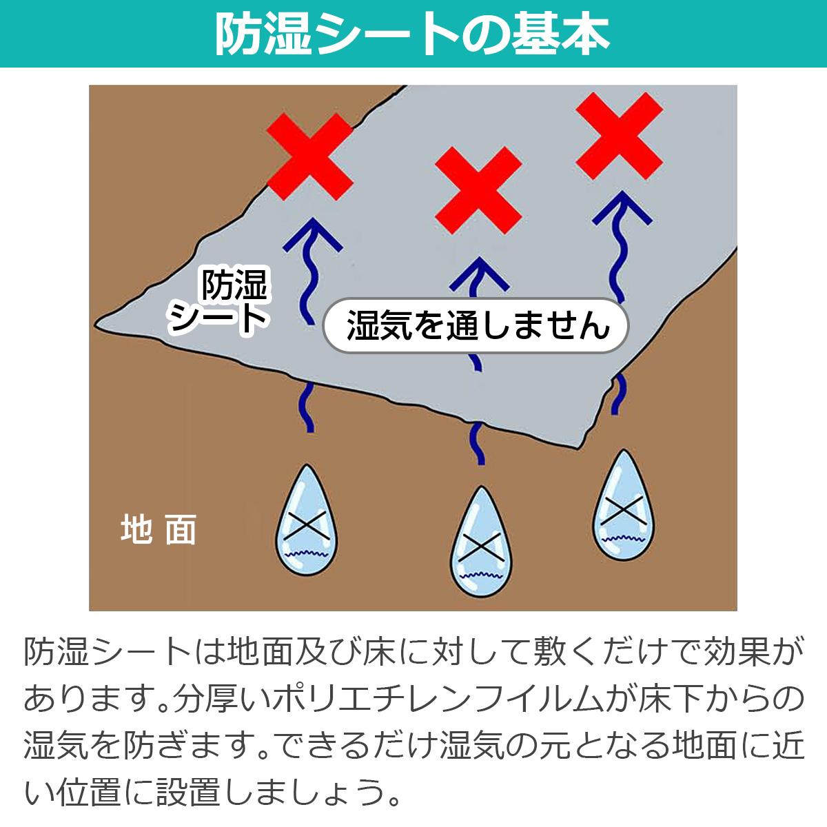 防湿シートの基本 防湿シートは地面及び床に対して敷くだけで効果があります。分厚いポリエチレンフィルムが床下からの湿気を防ぎます。できるだけ湿気の元となる地面に近い位置に設置しましょう