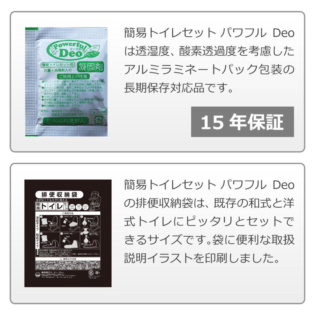 簡易トイレセット パワフルDeoは透湿度。酸素透過度を考慮したアルミラミネートパック包装の長期保存対応品です。付属の排便収納は既存の和式/洋式トイレにピッタリとセットできるサイズです。袋にも取扱説明書イラストが印刷されています。