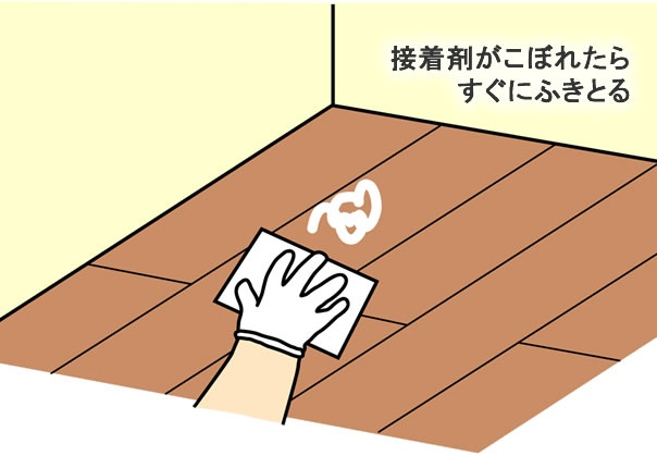 接着剤がこぼれたらすぐに拭き取る