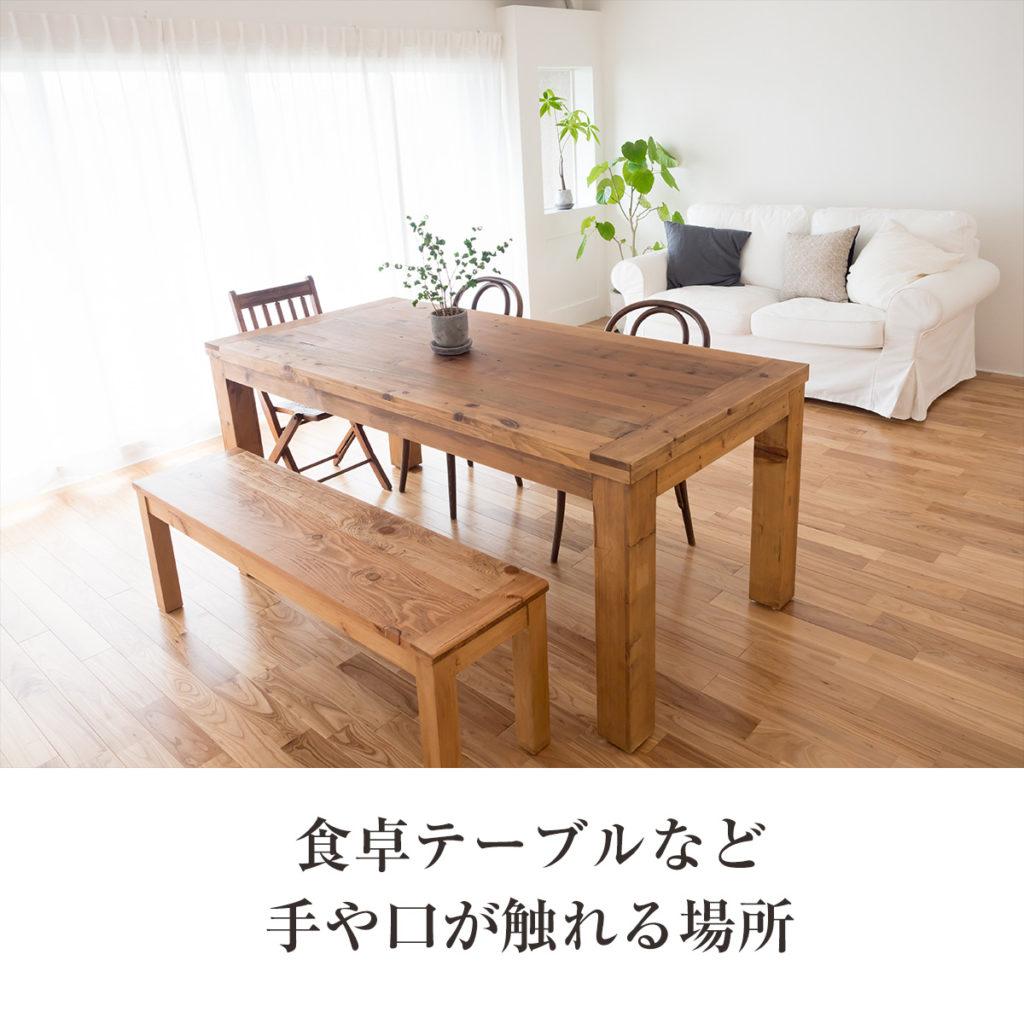 食卓テーブルまど手や口が触れる場所