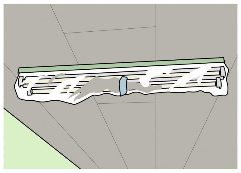 照明機器はマスキングテープを根元に巻きその上にロールマスカーを貼る