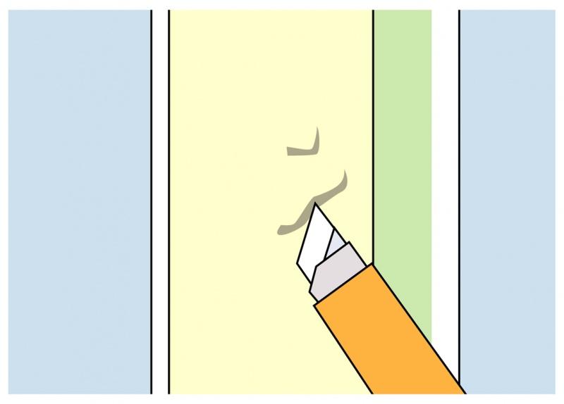 ペンキのダマが壁面に付着したら半乾きの時にカッターでこそぎ落とす