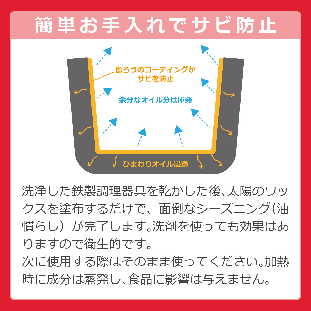 簡単お手入れでサビ防止 蜜蝋が鉄製品の表面をコーティングして保護